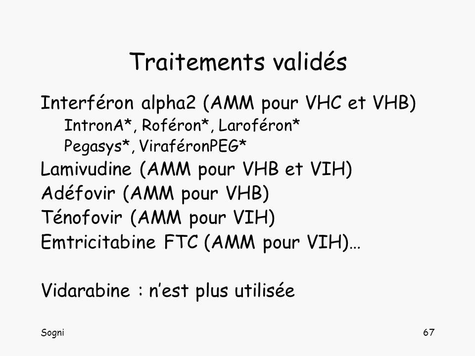 Sogni67 Traitements validés Interféron alpha2 (AMM pour VHC et VHB) IntronA*, Roféron*, Laroféron* Pegasys*, ViraféronPEG* Lamivudine (AMM pour VHB et VIH) Adéfovir (AMM pour VHB) Ténofovir (AMM pour VIH) Emtricitabine FTC (AMM pour VIH)… Vidarabine : nest plus utilisée