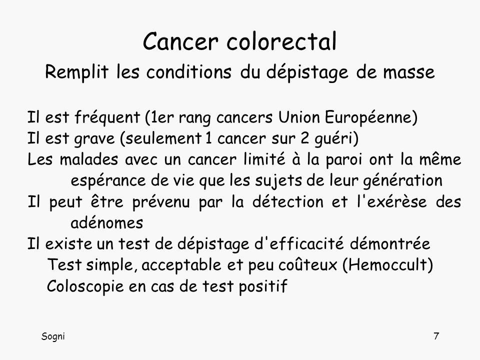 Sogni7 Cancer colorectal Remplit les conditions du dépistage de masse Il est fréquent (1er rang cancers Union Européenne) Il est grave (seulement 1 cancer sur 2 guéri) Les malades avec un cancer limité à la paroi ont la même espérance de vie que les sujets de leur génération Il peut être prévenu par la détection et l exérèse des adénomes Il existe un test de dépistage d efficacité démontrée Test simple, acceptable et peu coûteux (Hemoccult) Coloscopie en cas de test positif