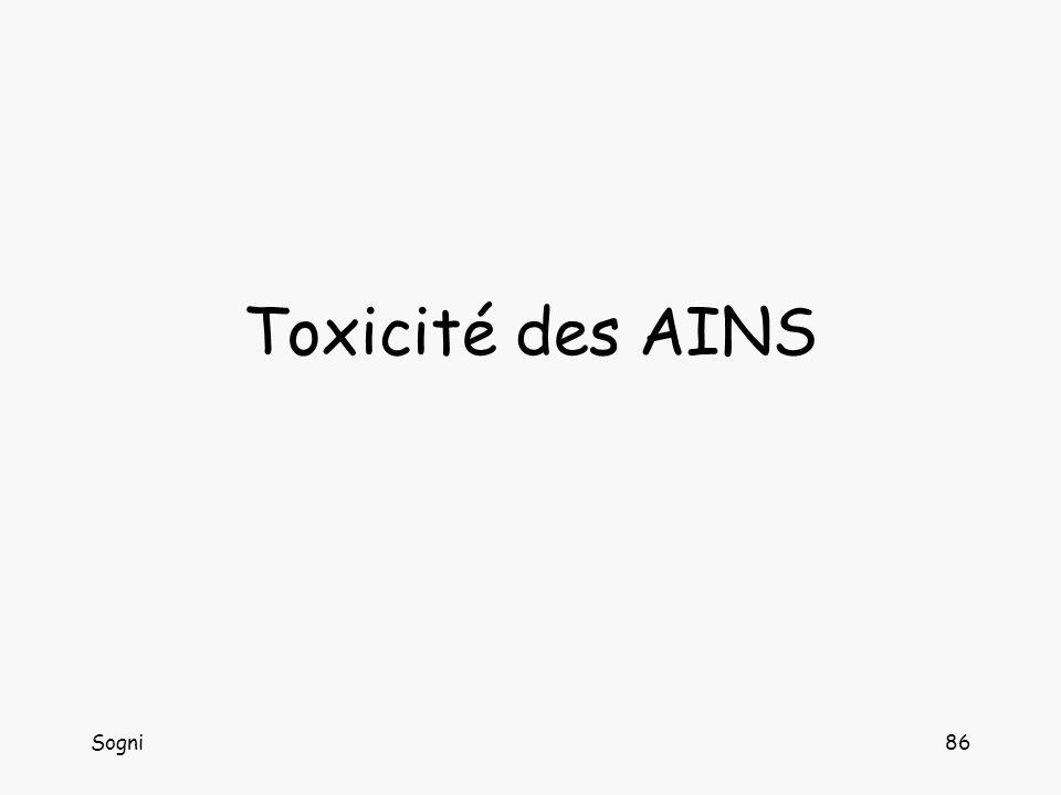 Sogni87 Toxicité digestive des AINS -Dyspepsie / douleur -Ulcérations digestives -Hémorragies digestives -Perforation -Mortalité