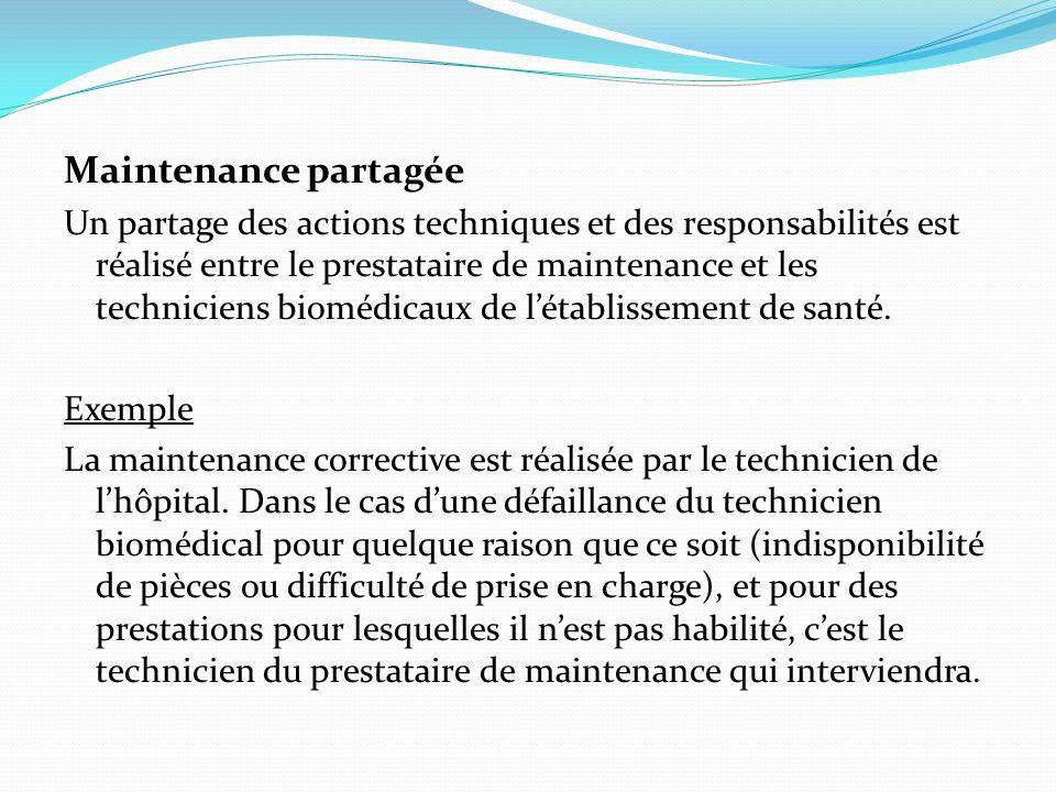 Maintenance partagée Un partage des actions techniques et des responsabilités est réalisé entre le prestataire de maintenance et les techniciens biomé