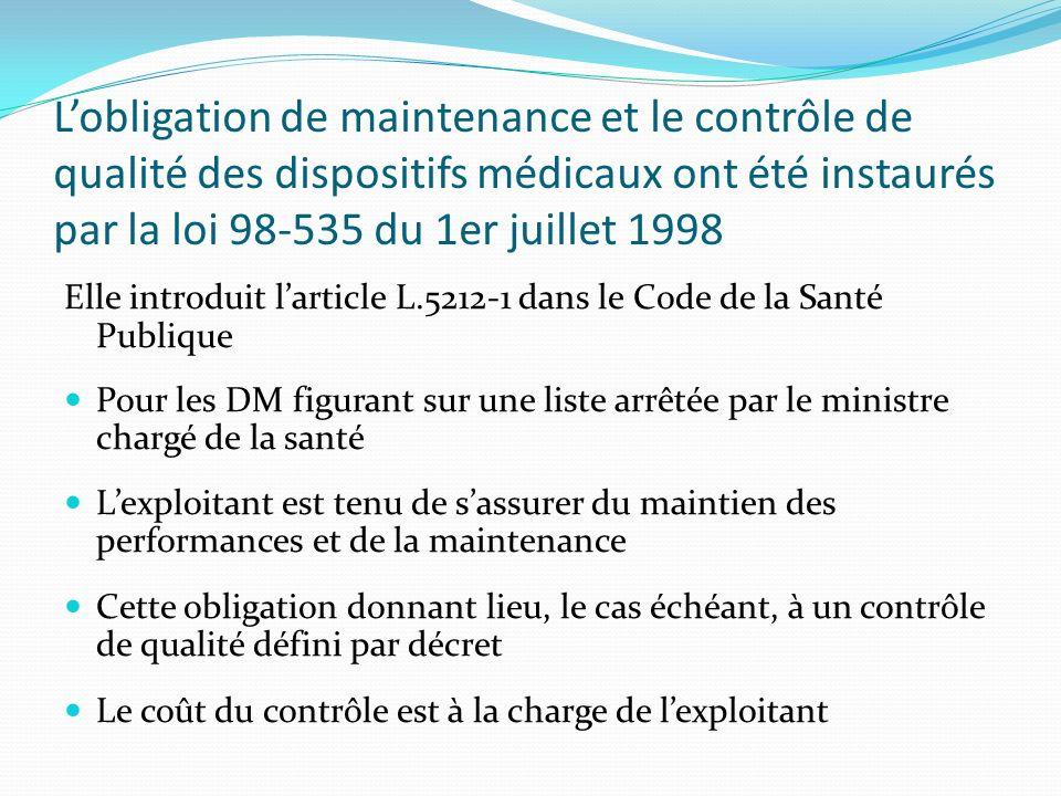 Lobligation de maintenance et le contrôle de qualité des dispositifs médicaux ont été instaurés par la loi 98-535 du 1er juillet 1998 Elle introduit l
