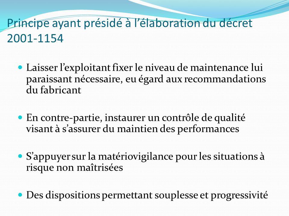 Principe ayant présidé à lélaboration du décret 2001-1154 Laisser lexploitant fixer le niveau de maintenance lui paraissant nécessaire, eu égard aux r