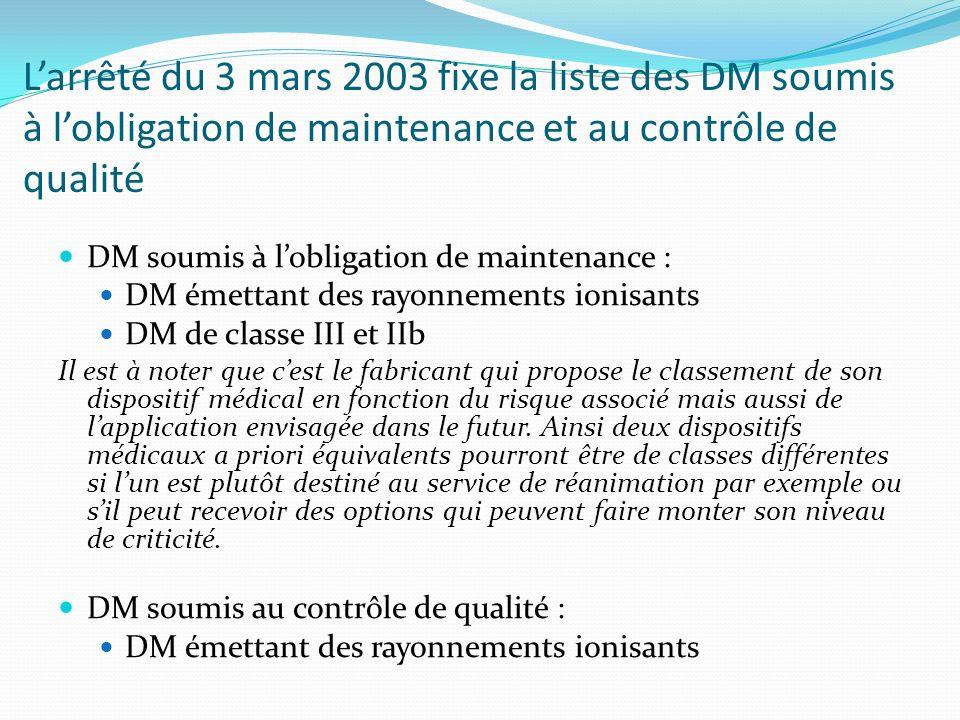 Larrêté du 3 mars 2003 fixe la liste des DM soumis à lobligation de maintenance et au contrôle de qualité DM soumis à lobligation de maintenance : DM