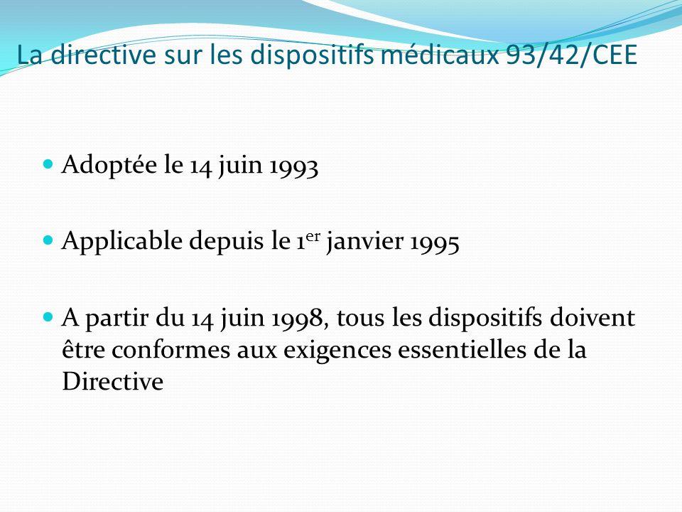 La directive sur les dispositifs médicaux 93/42/CEE Adoptée le 14 juin 1993 Applicable depuis le 1 er janvier 1995 A partir du 14 juin 1998, tous les