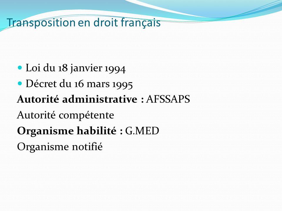 Transposition en droit français Loi du 18 janvier 1994 Décret du 16 mars 1995 Autorité administrative : AFSSAPS Autorité compétente Organisme habilité