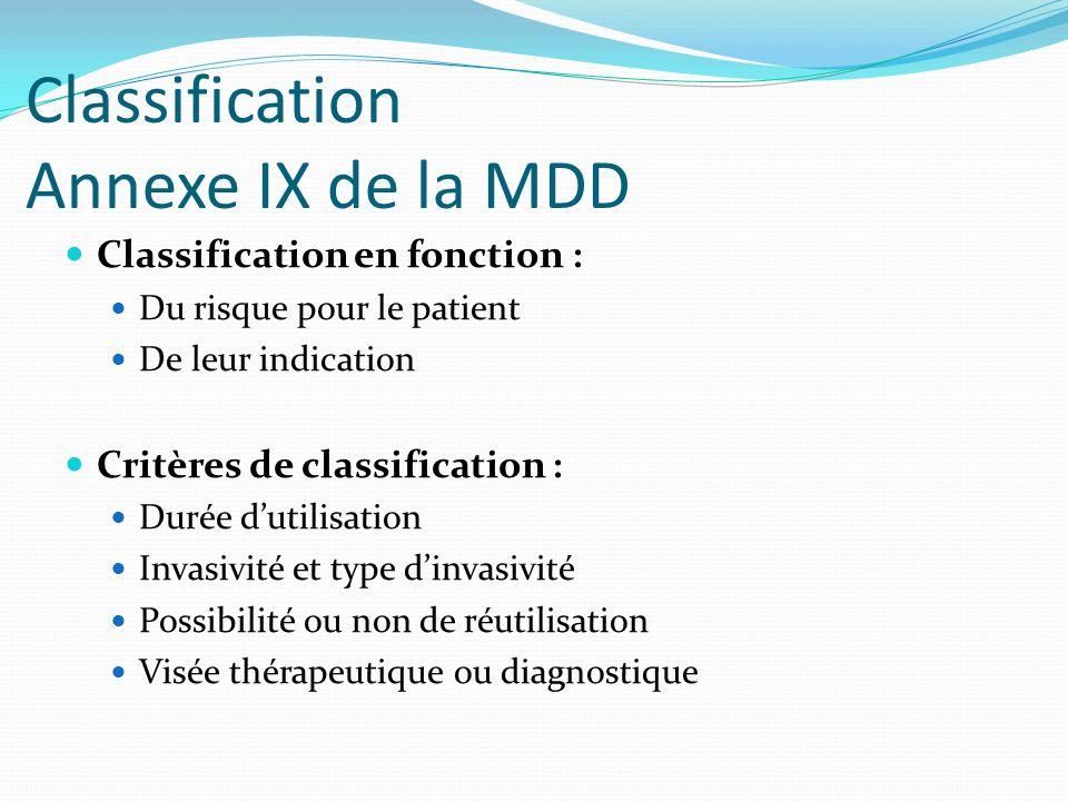 Classification Annexe IX de la MDD Classification en fonction : Du risque pour le patient De leur indication Critères de classification : Durée dutili