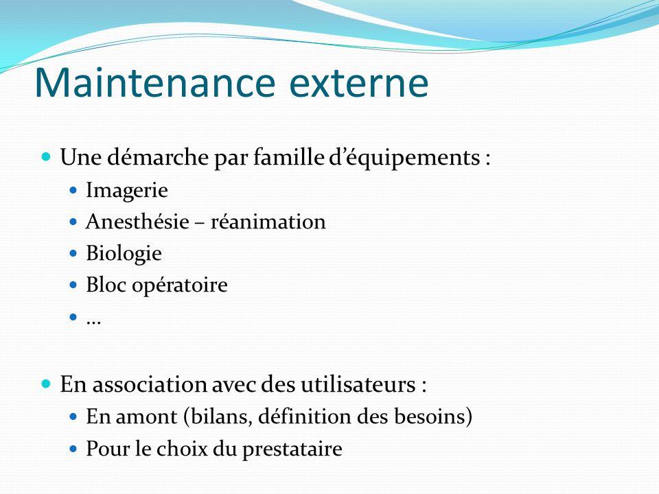 Maintenance externe Une démarche par famille déquipements : Imagerie Anesthésie – réanimation Biologie Bloc opératoire … En association avec des utili