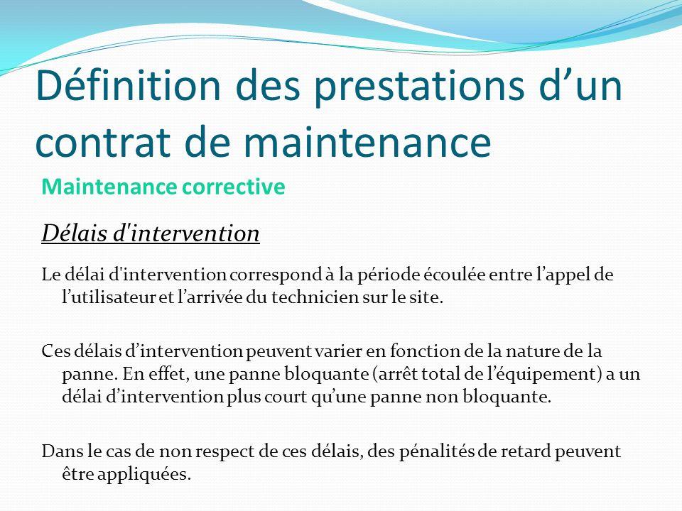 Définition des prestations dun contrat de maintenance Maintenance corrective Délais d'intervention Le délai d'intervention correspond à la période éco