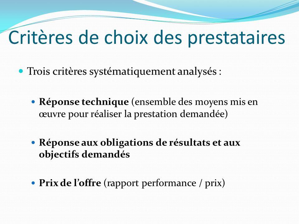 Critères de choix des prestataires Trois critères systématiquement analysés : Réponse technique (ensemble des moyens mis en œuvre pour réaliser la pre
