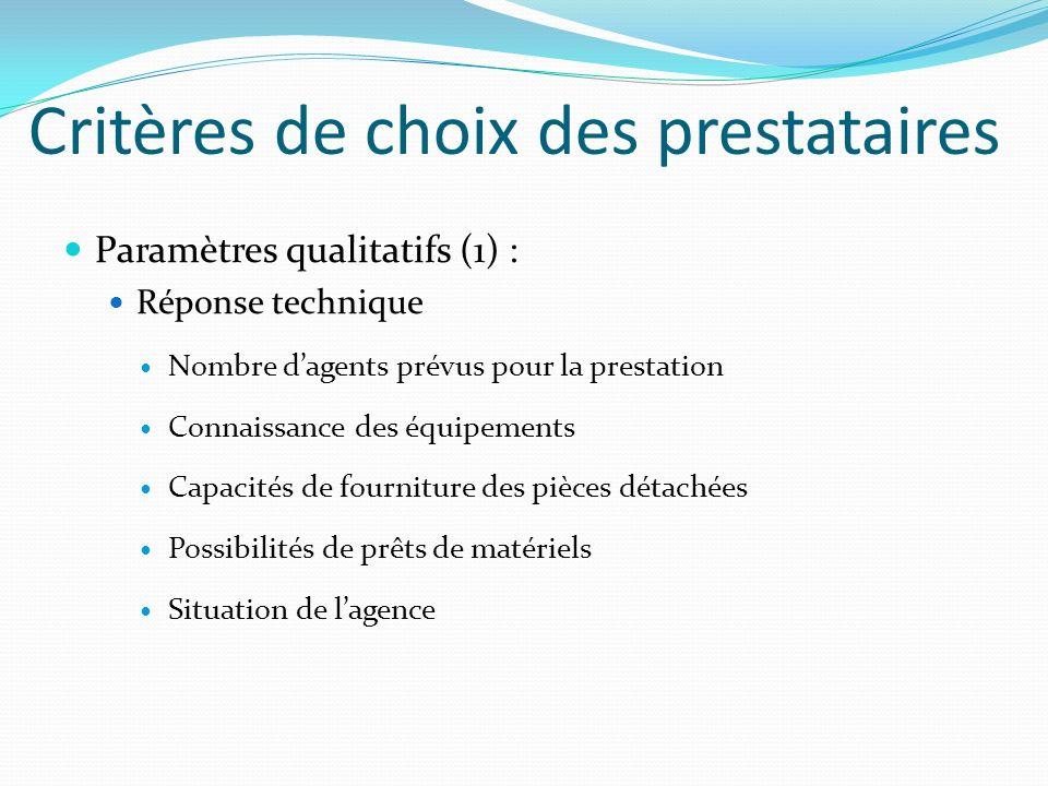 Critères de choix des prestataires Paramètres qualitatifs (1) : Réponse technique Nombre dagents prévus pour la prestation Connaissance des équipement