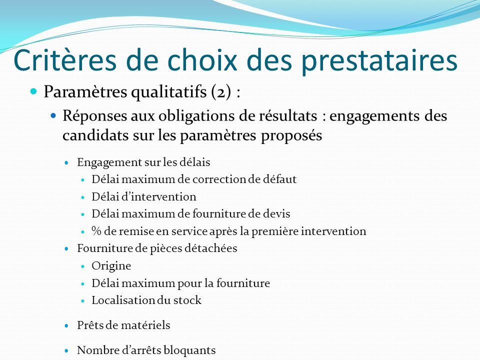 Critères de choix des prestataires Paramètres qualitatifs (2) : Réponses aux obligations de résultats : engagements des candidats sur les paramètres p