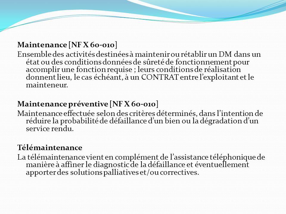 Maintenance [NF X 60-010] Ensemble des activités destinées à maintenir ou rétablir un DM dans un état ou des conditions données de sûreté de fonctionn