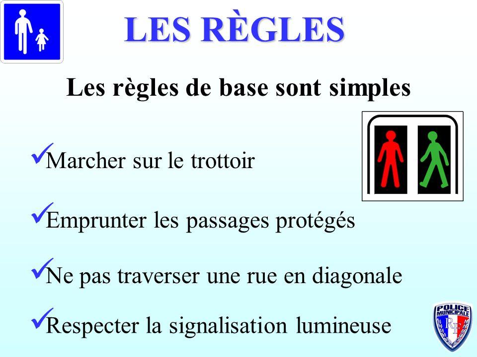 LES RÈGLES Les règles de base sont simples Marcher sur le trottoir Emprunter les passages protégés Ne pas traverser une rue en diagonale Respecter la
