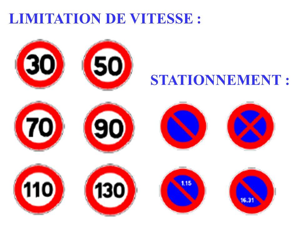 LIMITATION DE VITESSE : STATIONNEMENT :