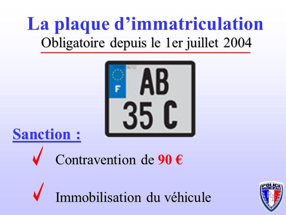 Sanction : Contravention de 90 Contravention de 90 Immobilisation du véhicule La plaque dimmatriculation Obligatoire depuis le 1er juillet 2004