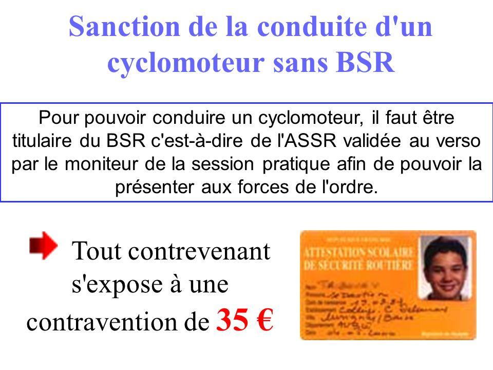 Tout contrevenant s'expose à une contravention de 35 Sanction de la conduite d'un cyclomoteur sans BSR Pour pouvoir conduire un cyclomoteur, il faut ê