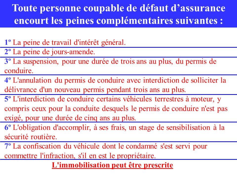 1º La peine de travail d'intérêt général. 2º La peine de jours-amende. 3º La suspension, pour une durée de trois ans au plus, du permis de conduire. 4