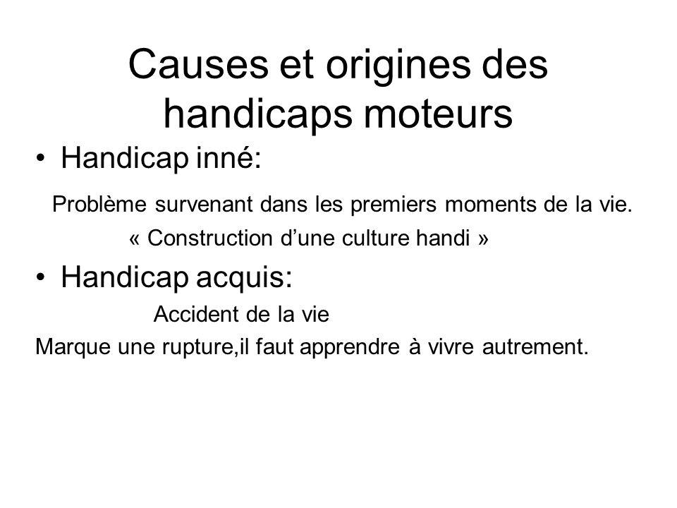 Causes et origines des handicaps moteurs Handicap inné: Problème survenant dans les premiers moments de la vie. « Construction dune culture handi » Ha