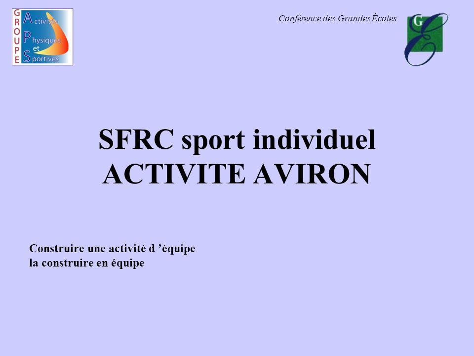 Conférence des Grandes Écoles SFRC sport individuel ACTIVITE AVIRON Construire une activité d équipe la construire en équipe