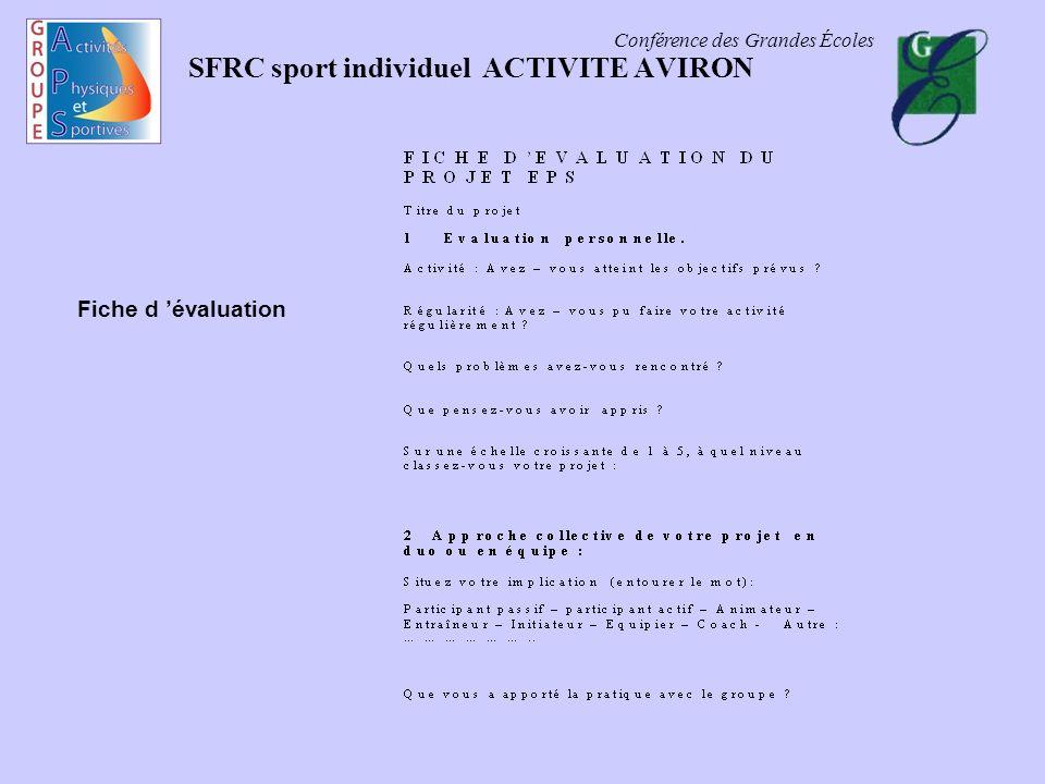 Conférence des Grandes Écoles SFRC sport individuel ACTIVITE AVIRON Fiche d évaluation