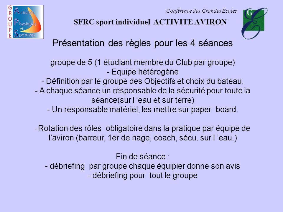 Conférence des Grandes Écoles SFRC sport individuel ACTIVITE AVIRON Présentation des règles pour les 4 séances groupe de 5 (1 étudiant membre du Club