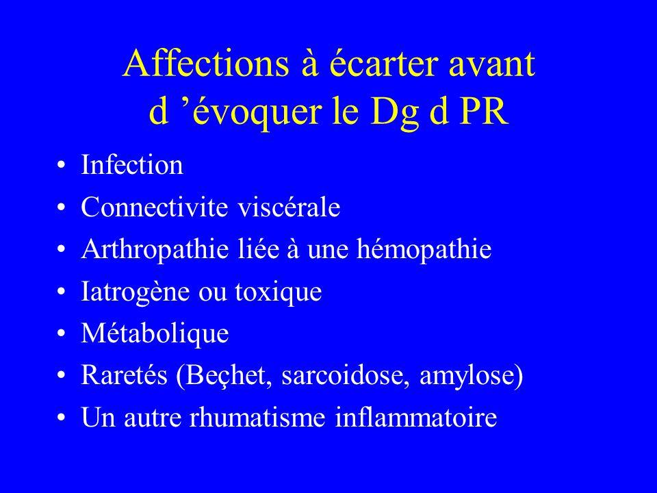 Affections à écarter avant d évoquer le Dg d PR Infection Connectivite viscérale Arthropathie liée à une hémopathie Iatrogène ou toxique Métabolique Raretés (Beçhet, sarcoidose, amylose) Un autre rhumatisme inflammatoire
