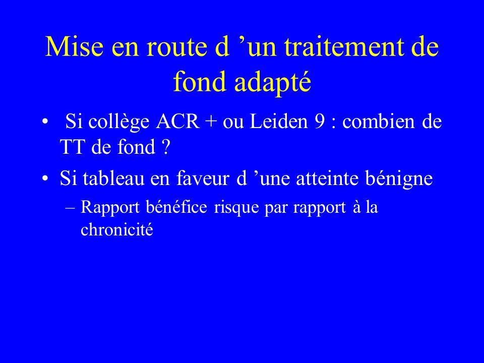 Mise en route d un traitement de fond adapté Si collège ACR + ou Leiden 9 : combien de TT de fond .