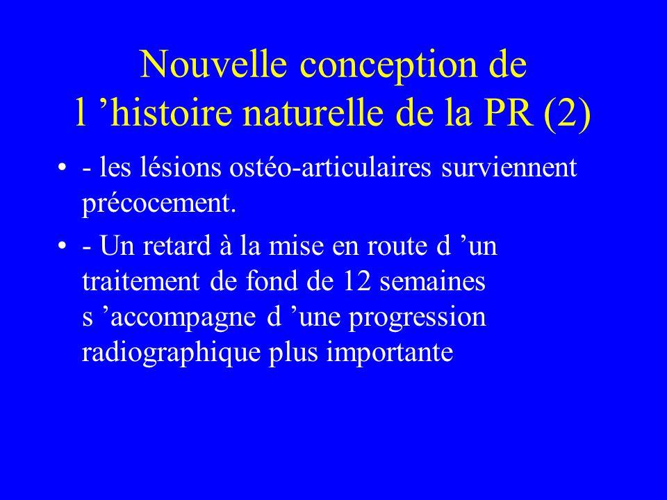 Nouvelle conception de l histoire naturelle de la PR (2) - les lésions ostéo-articulaires surviennent précocement. - Un retard à la mise en route d un