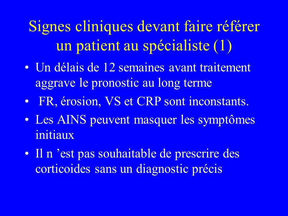 Signes cliniques devant faire référer un patient au spécialiste (1) Un délais de 12 semaines avant traitement aggrave le pronostic au long terme FR, érosion, VS et CRP sont inconstants.
