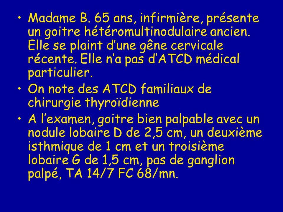 Madame B. 65 ans, infirmière, présente un goitre hétéromultinodulaire ancien. Elle se plaint dune gêne cervicale récente. Elle na pas dATCD médical pa