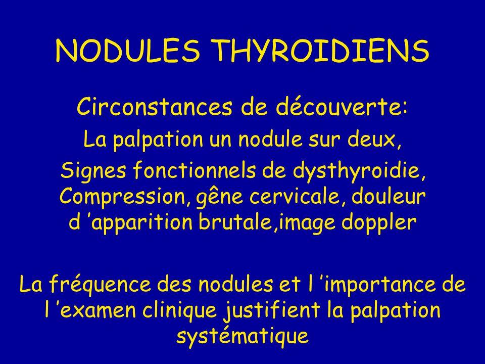 NODULES THYROIDIENS Circonstances de découverte: La palpation un nodule sur deux, Signes fonctionnels de dysthyroidie, Compression, gêne cervicale, do