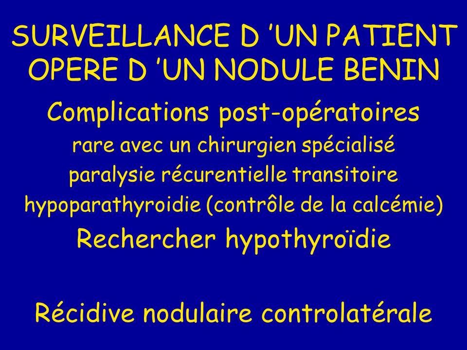 SURVEILLANCE D UN PATIENT OPERE D UN NODULE BENIN Complications post-opératoires rare avec un chirurgien spécialisé paralysie récurentielle transitoire hypoparathyroidie (contrôle de la calcémie) Rechercher hypothyroïdie Récidive nodulaire controlatérale