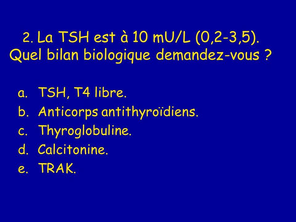 2. La TSH est à 10 mU/L (0,2-3,5). Quel bilan biologique demandez-vous ? a.TSH, T4 libre. b.Anticorps antithyroïdiens. c.Thyroglobuline. d.Calcitonine