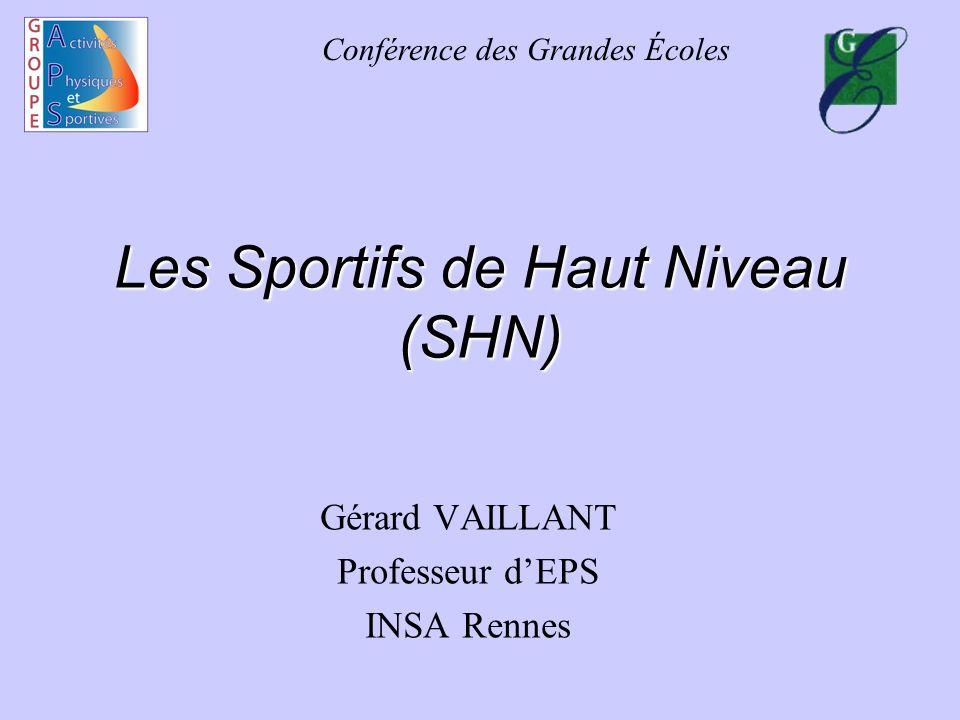 Conférence des Grandes Écoles Les Sportifs de Haut Niveau (SHN) Gérard VAILLANT Professeur dEPS INSA Rennes