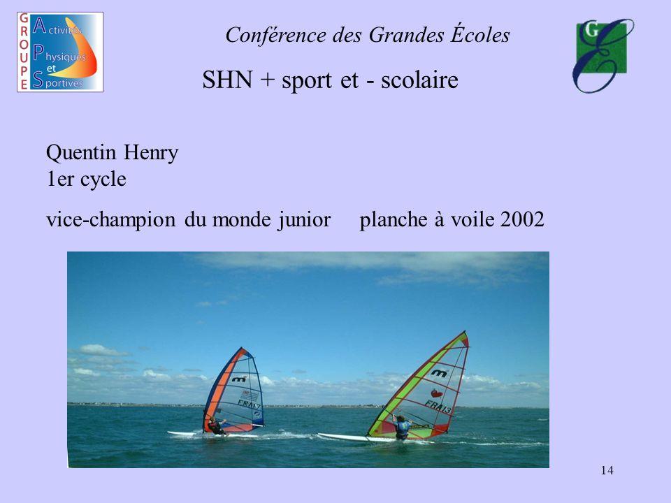 Conférence des Grandes Écoles 14 SHN + sport et - scolaire Quentin Henry 1er cycle vice-champion du monde junior planche à voile 2002