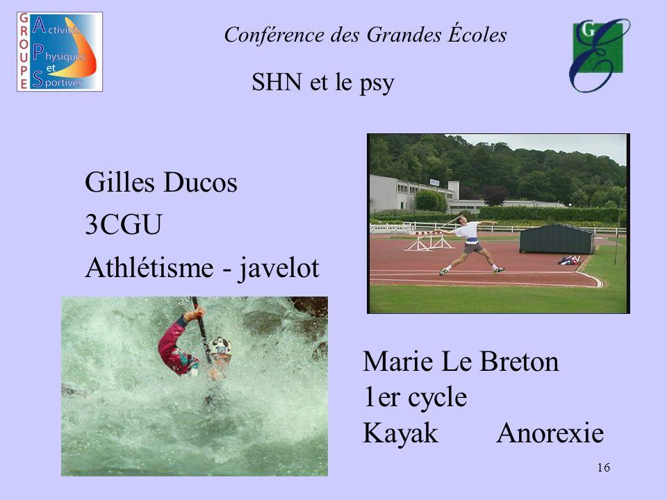 Conférence des Grandes Écoles 16 SHN et le psy Gilles Ducos 3CGU Athlétisme - javelot Marie Le Breton 1er cycle KayakAnorexie