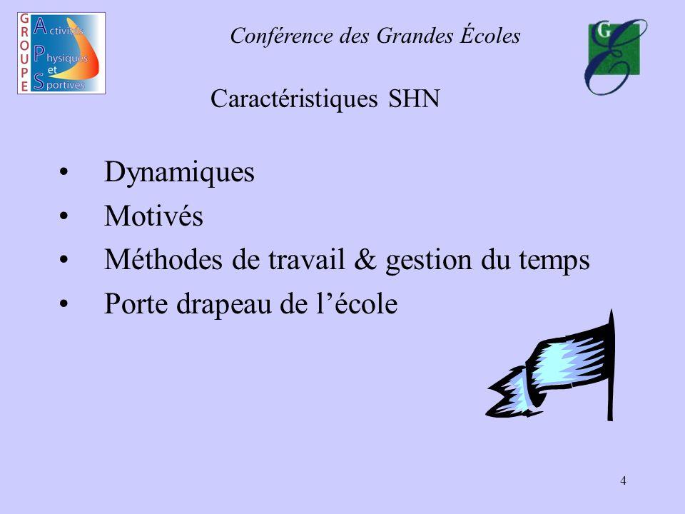 Conférence des Grandes Écoles 4 Caractéristiques SHN Dynamiques Motivés Méthodes de travail & gestion du temps Porte drapeau de lécole
