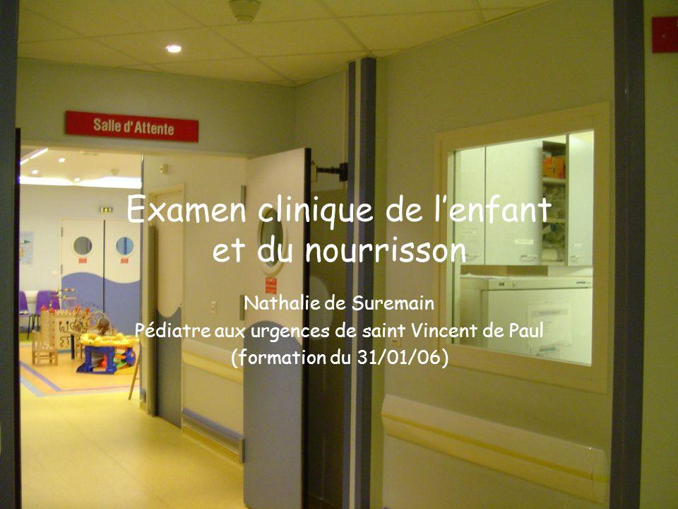 Examen clinique de lenfant et du nourrisson Nathalie de Suremain Pédiatre aux urgences de saint Vincent de Paul (formation du 31/01/06)
