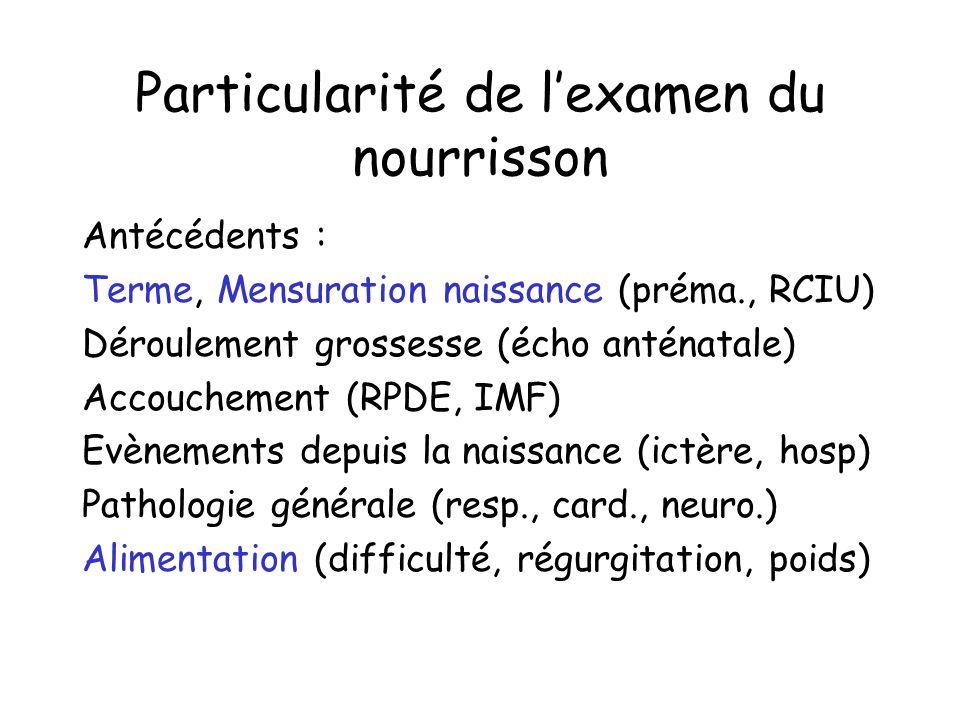 Particularité de lexamen du nourrisson Antécédents : Terme, Mensuration naissance (préma., RCIU) Déroulement grossesse (écho anténatale) Accouchement