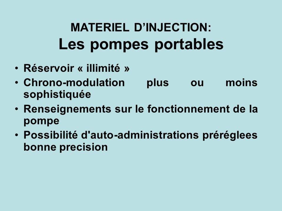 MATERIEL DINJECTION: Les pompes portables Réservoir « illimité » Chrono-modulation plus ou moins sophistiquée Renseignements sur le fonctionnement de