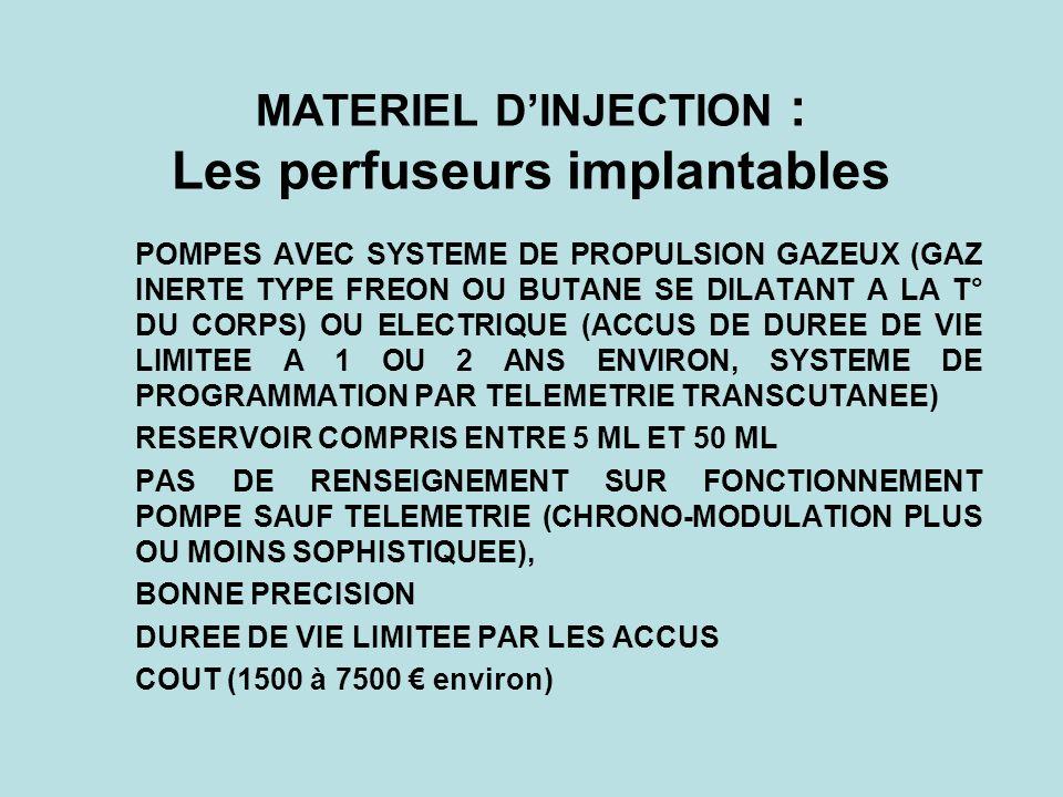 MATERIEL DINJECTION : Les perfuseurs implantables POMPES AVEC SYSTEME DE PROPULSION GAZEUX (GAZ INERTE TYPE FREON OU BUTANE SE DILATANT A LA T° DU COR