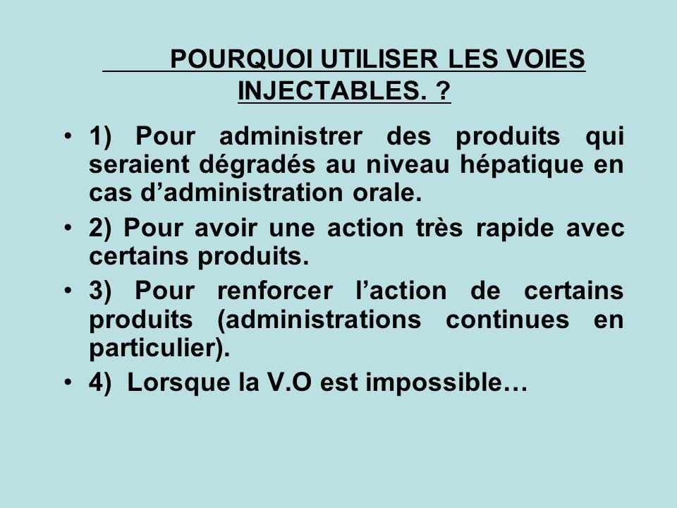 POURQUOI UTILISER LES VOIES INJECTABLES. ? 1) Pour administrer des produits qui seraient dégradés au niveau hépatique en cas dadministration orale. 2)