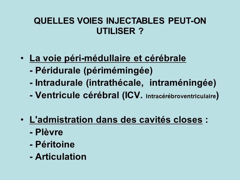 La voie péri-médullaire et cérébrale - Péridurale (périmémingée) - Intradurale (intrathécale, intraméningée) - Ventricule cérébral (ICV. Intracérébrov