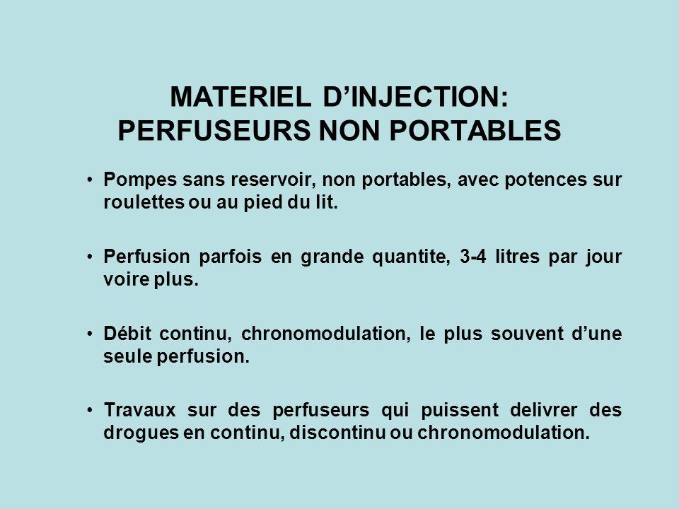 MATERIEL DINJECTION: PERFUSEURS NON PORTABLES Pompes sans reservoir, non portables, avec potences sur roulettes ou au pied du lit. Perfusion parfois e