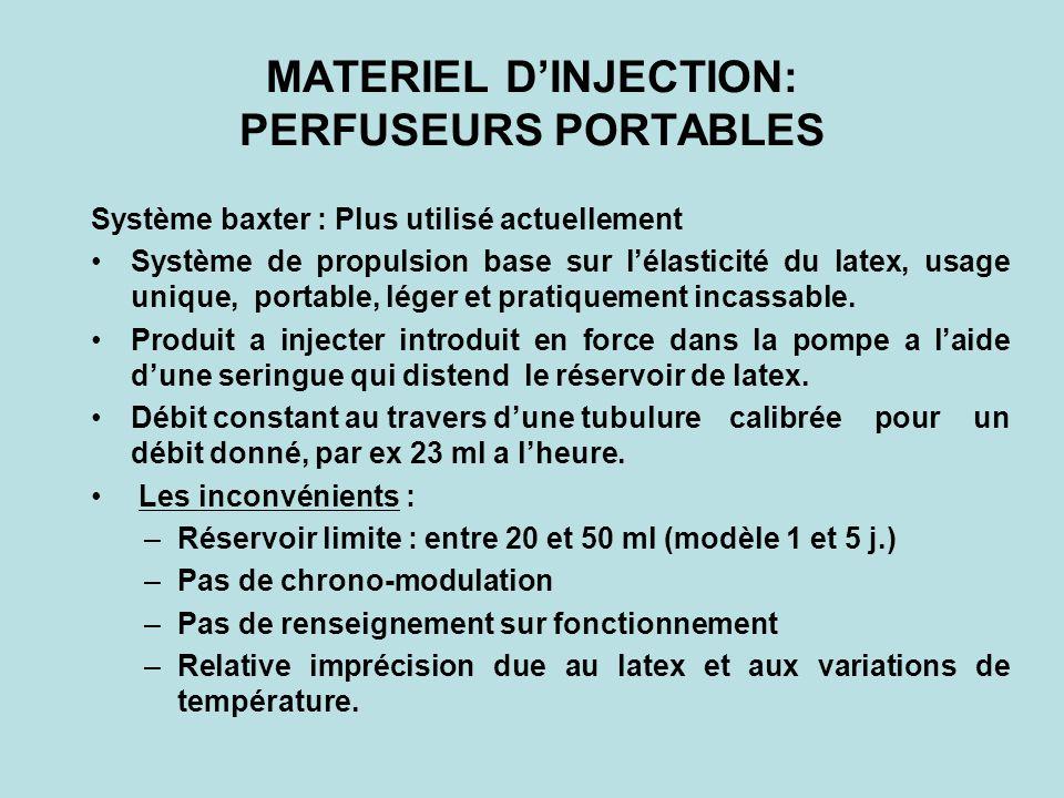 MATERIEL DINJECTION les pousse-seringues portables Réservoir limité à 20 ml environ, Bonne précision, Pas de chrono-modulation, Pas de renseignement sur fonctionnement de la pompe.