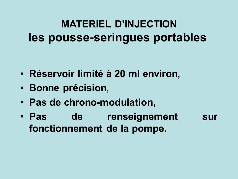 MATERIEL DINJECTION les pousse-seringues portables Réservoir limité à 20 ml environ, Bonne précision, Pas de chrono-modulation, Pas de renseignement s