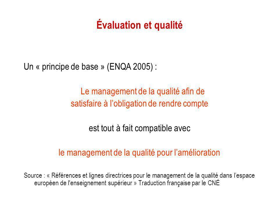 Évaluation et qualité Un « principe de base » (ENQA 2005) : Le management de la qualité afin de satisfaire à lobligation de rendre compte est tout à f