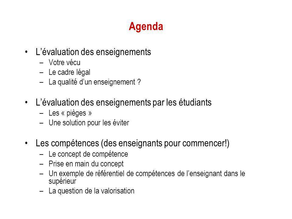 Agenda Lévaluation des enseignements –Votre vécu –Le cadre légal –La qualité dun enseignement ? Lévaluation des enseignements par les étudiants –Les «