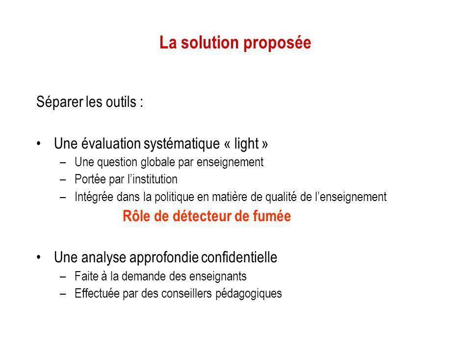 La solution proposée Séparer les outils : Une évaluation systématique « light » –Une question globale par enseignement –Portée par linstitution –Intég