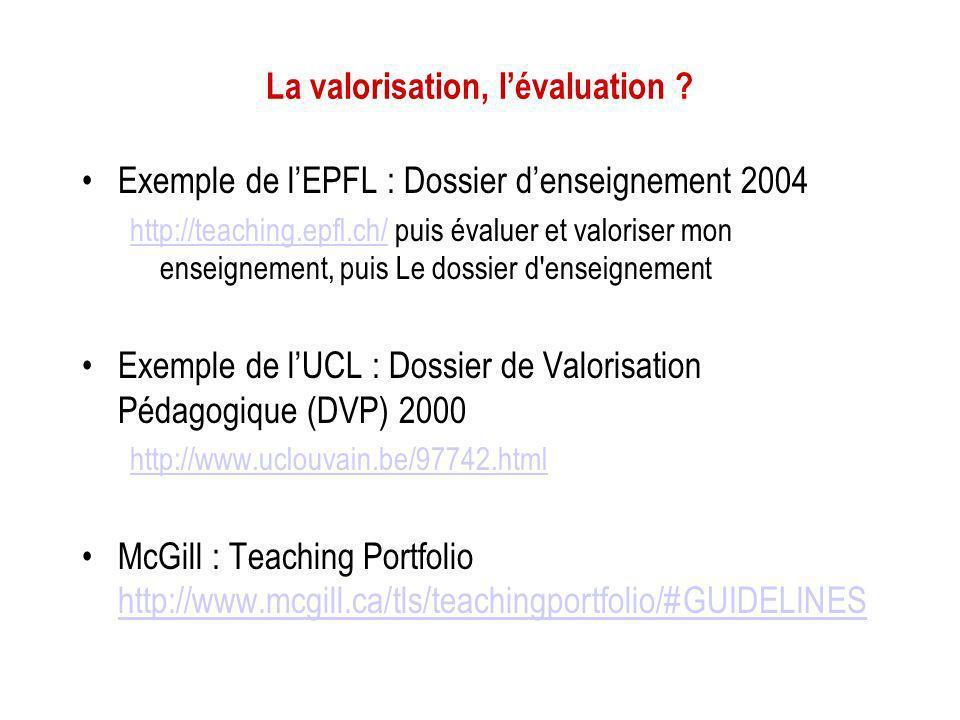 La valorisation, lévaluation ? Exemple de lEPFL : Dossier denseignement 2004 http://teaching.epfl.ch/http://teaching.epfl.ch/ puis évaluer et valorise